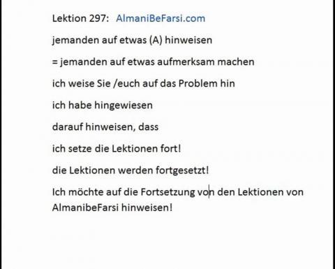 Lektion 297 (hinweisen auf, zur Verfügugn)